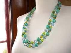 Vendome AB Crystal & Enamel Two Strand Necklace by PeppermintPigs
