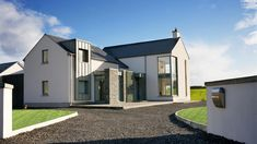 - House Plans, Home Plan Designs, Floor Plans and Blueprints Stone Front House, House Front, Modern Barn House, Modern House Design, Style At Home, House Designs Ireland, Dormer House, Passive House Design, Bungalow Extensions