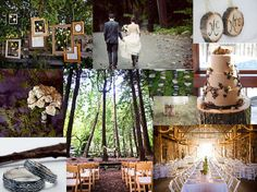 Hanging frames add interest to a rustic wedding. Great way to display family or engagement pictures