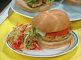Curry Turkey Burgers tonight for dinner! Yum! Used a thin bun instead of the big crusty bun for less calories!