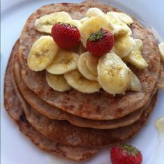 Buckwheat strawberry pancakes- egg free too!