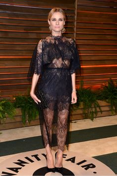 Diane Kruger at the Vanity Fair Oscars Party in a sexy see-through lace Valentino frock