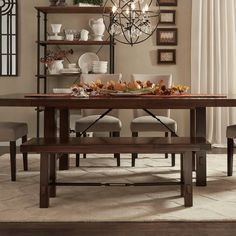 TRIBECCA HOME Swindon Rustic Oak Turnbuckle Dining Bench - Overstock™ Shopping - Great Deals on Tribecca Home Benches
