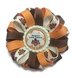 Mommy's Little Turkey Hair Bow Thanksgiving Bow Loopy