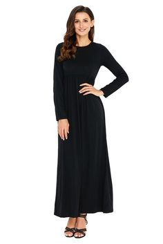 Black Solid Ruched O-neck Long Sleeve High Waist Regular Maxi Jersey Dress Winter In Sexy Dresses, Dresses For Work, Dresses With Sleeves, Elegant Dresses, Winter Dresses, Dress Winter, Skirt Fashion, Women's Fashion, Ruched Dress