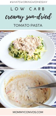 Keto dinner idea: Creamy chicken sundried tomato sauce with zucchini noodles. Delish! Also works great with spaghetti squash. Low carb. Keto friendly. High fat and protein, low carb meal. Easy crock pot dish. Slowcooker pasta sauce. Sun-dried tomatoes.