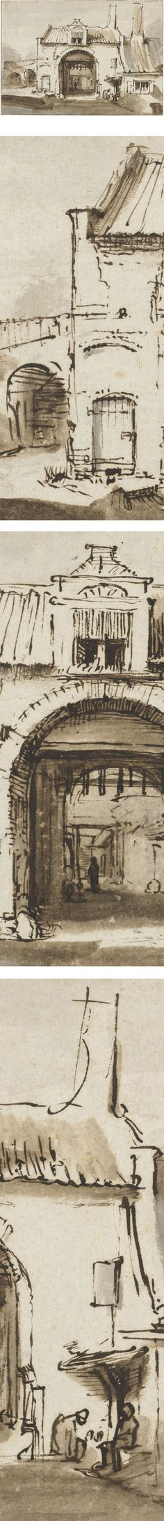 Eye Candy for Today: Rembrandt townscape drawing (lines and colors)