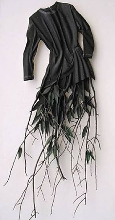 Create 3D and photograph Dress Sculpture with natural tree branch detail; organic fashion art // Ron Isaacs