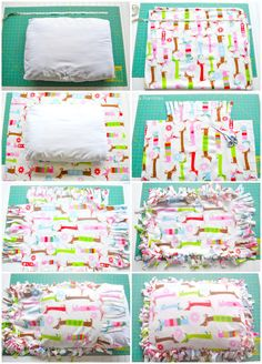 Create an inexpensive no-sew dog bed with a fleece blanket and a pillow. This does not require any skills and makes a great gift for the dog lover. bed Fleece No-Sew Dog Bed Pillow Tutorial Diy Cat Bed, Diy Dog Toys, Dog Pillow Bed, Dog Clothes Patterns, Dog Crafts, Dog Items, Animal Projects, Diy Stuffed Animals, Pet Beds