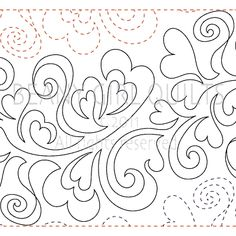 """Feathered Hearts - Paper -11"""" - Quilts Complete - Continuous Line Quilting Patterns"""