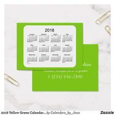 2018 Yellow Green Calendar by Janz Business Card