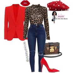 Date Worn: Leopard Casual Tank With Red Blazer & Red Heels Classy Outfits, Chic Outfits, Fall Outfits, Fashion Mode, Look Fashion, Womens Fashion, Fall Fashion, Fashion Trends, Look Blazer