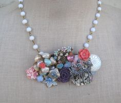 Vintage pastels Necklace collage deer flowers by FiorellaJewelry