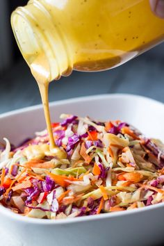 Grilled Mustard BBQ Slaw (green cabbage, red cabbage, oil, s&p. dressing-sweet baby ray's sweet golden mustard bbq sauce, onion, mayo, oil, ACV, s&p, celery seed, carrots)