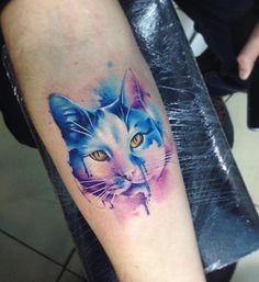 Watercolor cute cat tattoo - 100+ Examples of Cute Cat Tattoo <3 <3