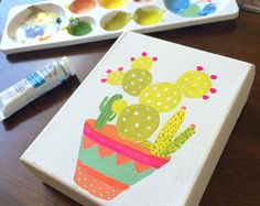 Mini canvas original painting bright cactus pot by DesignDraft
