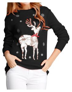 Women Girl Ugly Christmas Shining Reindeer Snowflake Pullover Sweater Jumper (S, Red Col) Best Christmas Sweaters, Ugly Christmas Sweater Women, Christmas Jumpers, Womens Christmas, Christmas Clothes, Christmas 2016, Christmas Gifts, Cute Sweaters, Pullover Sweaters