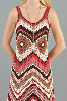 Custom 1-Of-A-Kind Zigzag Crochet Maxi Dress | BUSTOWN MODERN