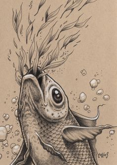 Bryan Collins Pop Surreal Art by bryancollins Koi Fish Drawing, Fish Drawings, Ink Pen Drawings, Animal Drawings, Art And Illustration, Ink Illustrations, Fish Sketch, Gcse Art Sketchbook, Sketchbook Inspiration