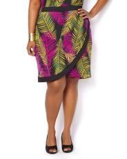 Plus Size Printed Wrap Skirt | Penningtons