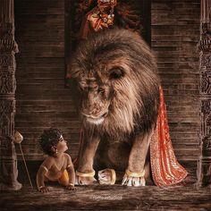 ⭐️ Murugan and the Lion, Goddess Durga's vehicle ⭐️ . Story: Since its week, Maa Durga invited Muruga to come… Shiva Hindu, Shiva Art, Hindu Deities, Krishna Art, Hindu Art, Krishna Statue, Ganesha Art, Shiva Shakti, Hanuman Ji Wallpapers