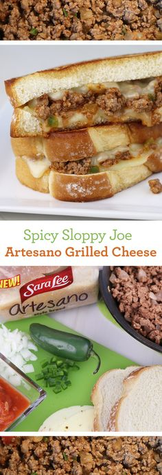 Spicy Sloppy Joe Artesano Grilled Cheese: Combine two classics into one incredible sandwich! Make Sloppy Joe filling with ground beef, onions, garlic, jalapeños and salsa. Layer with Pepper Jack cheese between thick slices of Sara Lee Artesano Bread. And griddle it up to mouthwateringly melty perfection.