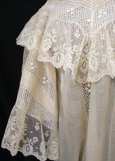 Maria Niforos - Fine Antique Lace, Linens & Textiles : Antique Edwardian & Victorian Clothing # CL-51 Circa 1880's-1900, Ornate Peignoir w/ Valencienne Lace