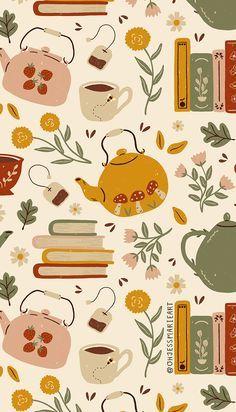 Fabric Flowery Books and Tea