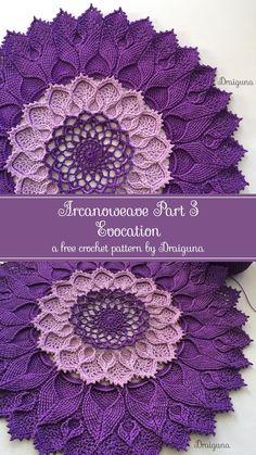 Arcanoweave Part Evocation a free crochet pattern by Draiguna Crochet Circle Pattern, Crochet Circles, Crochet Doily Patterns, Lace Patterns, Crochet Squares, Thread Crochet, Crochet Motif, Crochet Doilies, Free Crochet
