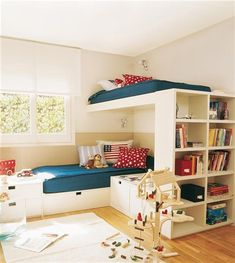 Love white IKEA bunk beds--- Kids Crammed In? 10 Great Ideas for Your Kids' Shared Bedroom; I love all the storage incorporated into these. I'm wondering how one gets onto the top bunk though. Loft Spaces, Kid Spaces, Small Spaces, Home Bedroom, Kids Bedroom, Bedroom Ideas, Kids Rooms, Room Kids, Lego Bedroom