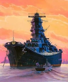 Japanese Imperial Navy Battleship Yamato and admiral barge. Military Weapons, Military Art, Military History, World Of Warships Wallpaper, Yamato Battleship, Scale Model Ships, Imperial Japanese Navy, Naval History, Navy Ships