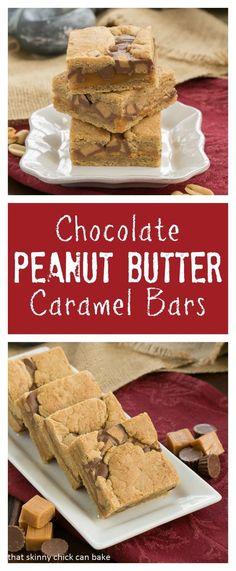 Incredibly tasty and decadent Chocolate Peanut Butter Caramel Bars #ChocolatePeanutButterDay @lizzydo
