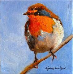 English Robin Taking A Break Bird Art Aviary Painting -- Norma Wilson