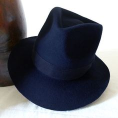 Navy Blue Wool Felt Fedora - Wide Brim Merino Wool Felt Handmade Fedora Hat - Men Women