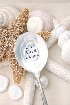 Vintage silverware garden marker live love laugh silver plated flatware inspirational