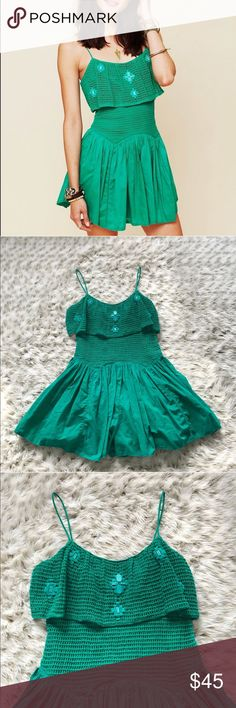 Free People New Romantics pebble beach Romper Free People New Romantics pebble beach Romper in green! Size 4! Excellent used condition! Simply stunning! Perfect color on everyone! Love the stone details on the top! Free People Pants Jumpsuits & Rompers