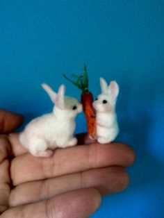 Tiny needle felted rabbit rabbit's family white by DreamsLab3