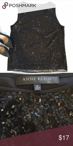 Anne Klein Sequin Tank Black sequin sleeveless top by Anne Klein. Back is plain black.  Size 10. Excellent condition! Anne Klein Tops Tank Tops