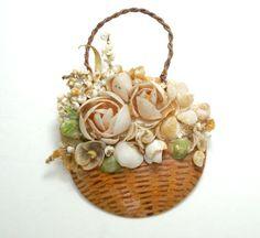 Vintage Shell Art Flower Basket Pin