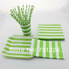 1880pcs GREEN Striped Dinnerware Set Paper Plates Cups Napkins Bags Paper Straws for Christmad Party Baby Shower Free Shipping $308.00
