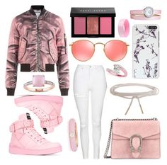 """""""Pretty in pink"""" by lucya-knight ❤ liked on Polyvore featuring Moschino, Gucci, Humble Chic, Topshop, Ray-Ban, Bobbi Brown Cosmetics, Miadora, Allurez, Baume & Mercier and Adolfo Courrier"""