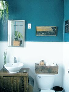 Bathroom Decorating in Blue-Brown, Chocolate Inspiration