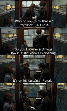 Harry Ron and Hermione meet Professor Lupin. Harry Potter Jokes, Harry Potter Fandom, Harry Potter World, Hogwarts, Golden Trio, Yer A Wizard Harry, Harry Potter Universal, Mischief Managed, Nerd