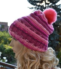 Knitted chunky beanie  slouchy cable style hat and by DosiakStyle