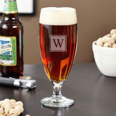 Home Wet Bar Montford Personalized 16 oz. Pilsner Glass Monogram: N