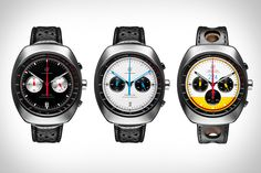 Birds of Prey watch-faces.  Love how these shots were designed to give the watches an Owl/Bird of Prey feel. Audodromo Prototipo Chronograph Watch