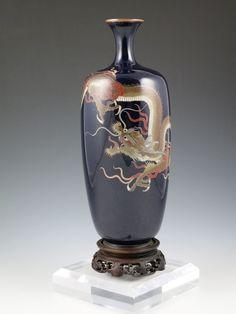 Antique Japanese Cloisonne Enamel Vase - Meiji - Silver wired dragon