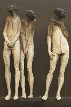 black and white - men - figurative sculpture - Max Leiva Ceramic Sculpture Figurative, Figurative Art, Ceramic Figures, Ceramic Art, Arte Tribal, Sculptures Céramiques, Pottery Sculpture, Contemporary Sculpture, Dark Fantasy