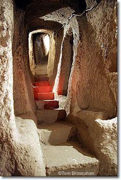Underground cities in Turkey.  Tunnel at Derinkuyu, Cappadocia, Turkey