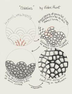 "New Zentangle pattern ""Cobble"" Zentangle Drawings, Doodles Zentangles, Doodle Drawings, Tangle Doodle, Zen Doodle, Doodle Art, Zantangle Art, Zen Art, Doodle Patterns"
